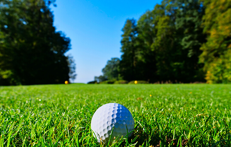 Golf ball lying in green grass on the fairway