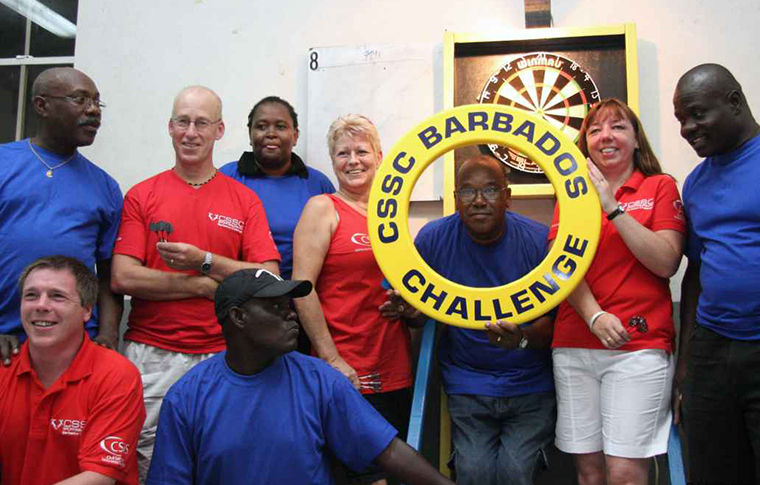 Group of people at a darts award ceremony