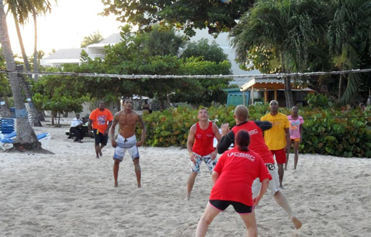 Beach volleyball tournament on the Caribbean sand